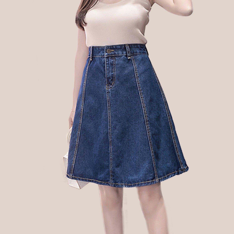 牛仔裙--韓版優雅百搭顯瘦修身牛仔中長高腰及膝八片牛仔裙(藍S-5L)-Q86眼圈熊中大尺碼 0