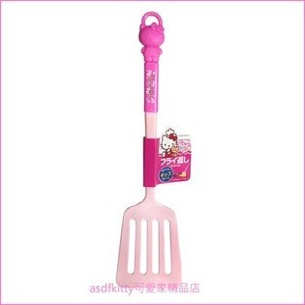 asdfkitty可愛家☆KITTY粉紅色造型把手有洞中型鍋鏟-日本正版商品