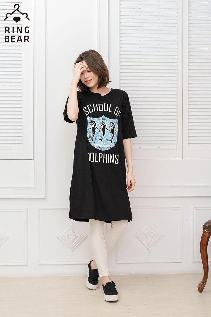 中大尺碼--率性風格可愛海豚學校印圖五分袖寬鬆版型休閒長洋裝(黑.白XL-3L)-D278眼圈熊中大尺碼 4