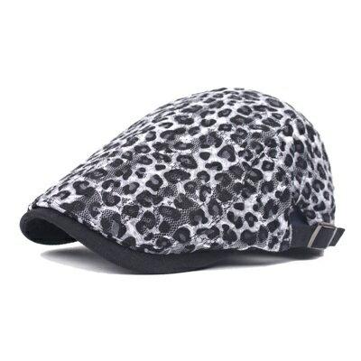 貝雷帽鴨舌帽-白色豹紋時尚休閒男女帽子73tv176【獨家進口】【米蘭精品】