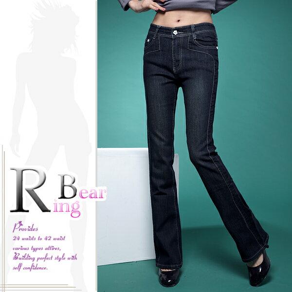 牛仔褲--絕對顯瘦素面側邊車線中腰小喇叭牛仔褲(S-7L)-N31眼圈熊中大尺碼 4