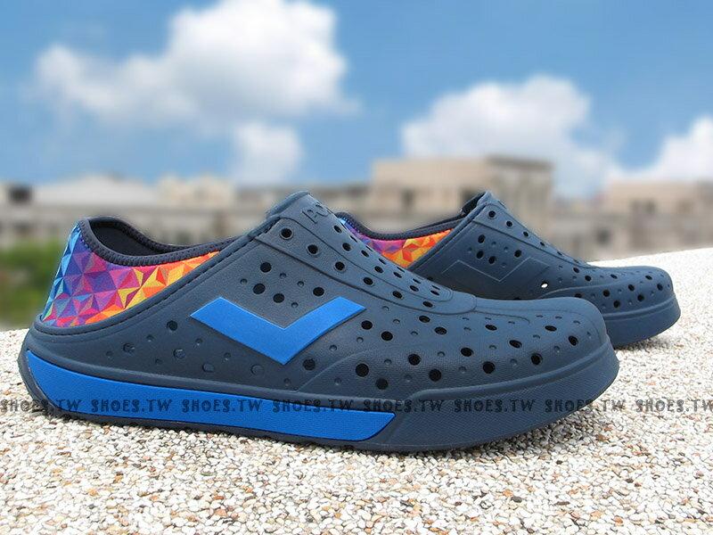 《限時特價79折》Shoestw【72U1SA66DB】PONY 洞洞鞋 水鞋 可踩跟 新款 懶人拖 深藍七彩菱格 男女都有