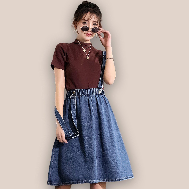 吊帶裙--百搭休閒可調式肩帶經典鬆緊高腰吊帶牛仔A字裙(藍M-5L)-Q104眼圈熊中大尺碼 0