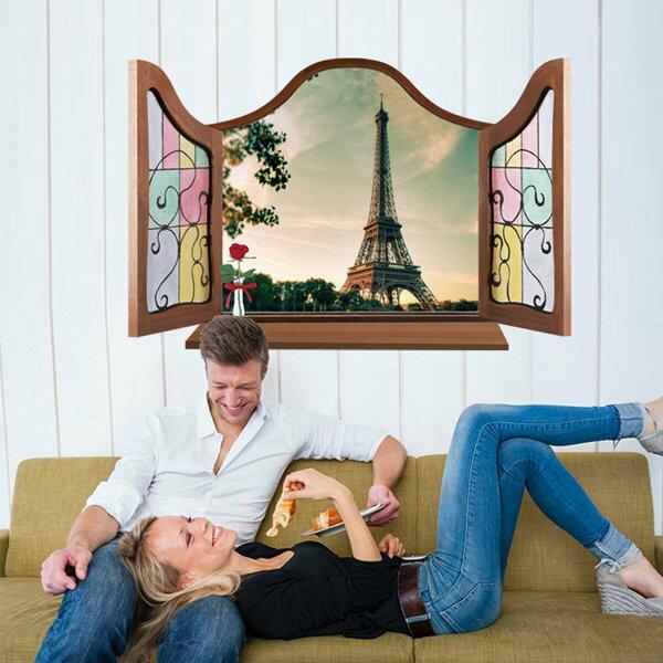 BO雜貨【YV0585】DIY可重複貼 時尚壁貼 牆貼壁紙 創意璧貼 假窗 3D立體窗景 MJ8017