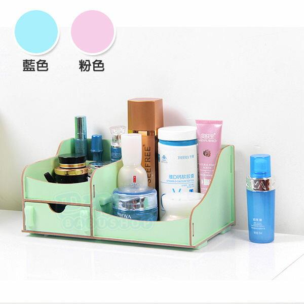 創意多用途DIY木質雙層收納箱/化妝盒/收納盒 )【巴布百貨】