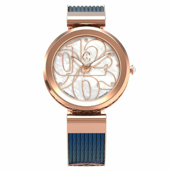 CHARRIOL夏利豪(FE32.F02.002)Forever系列半鋼索數字時尚腕錶珍珠母貝面32mm