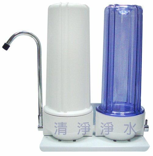 【大墩生活館】桌上型2道雙效濾水器/淨水器 含安裝配件及2道NSF 棉質PP+CTO濾心 $900/組
