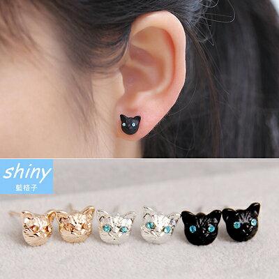 ~全館滿600折60【30A63】shiny藍格子-精緻小巧‧逼真耀眼可愛貓咪水鑽耳環