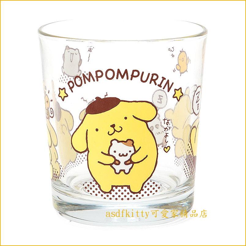 asdfkitty可愛家☆布丁狗朋友版透明玻璃杯/水杯/漱口杯-255ML-日本正版商品