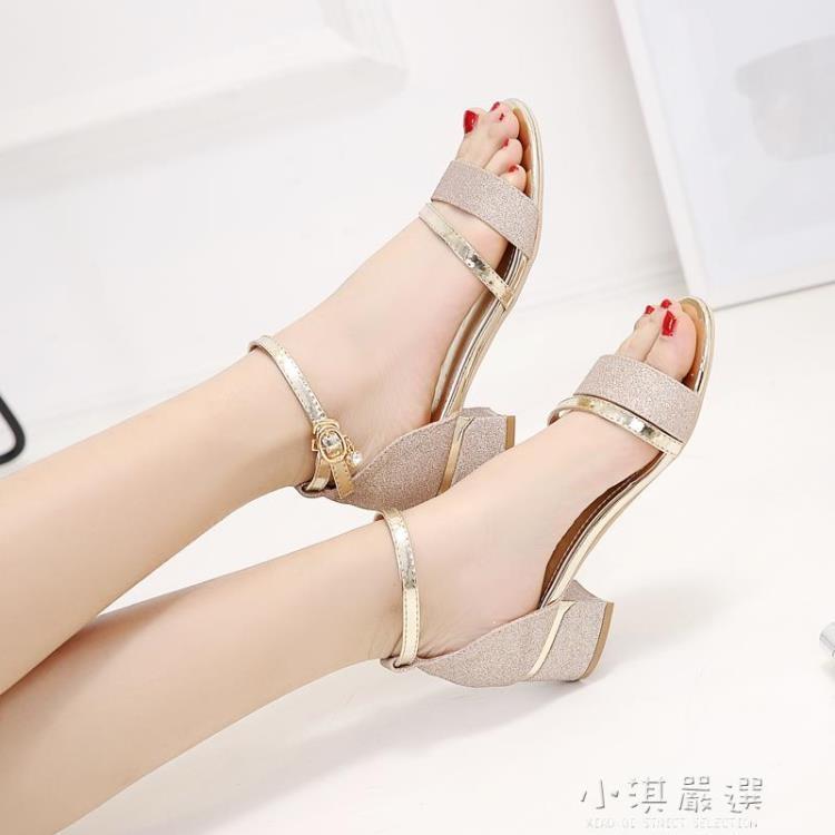 涼鞋女夏季中跟時裝2021新款露趾粗跟時尚百搭水鉆一字扣羅馬女鞋 摩登生活