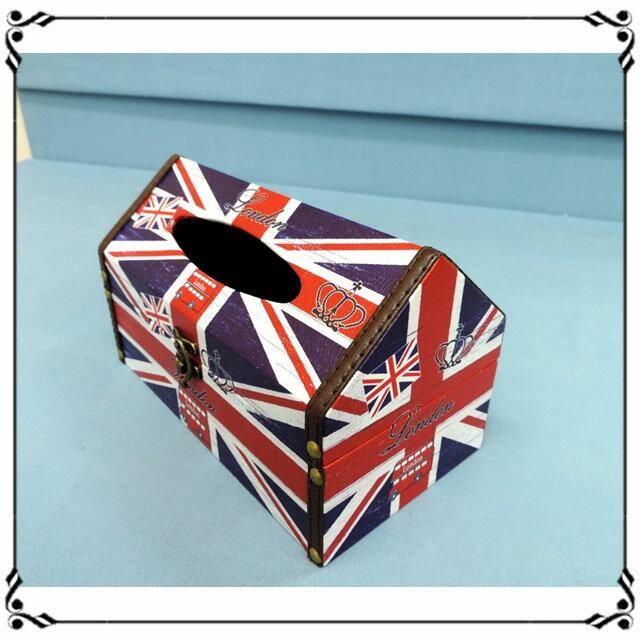 屋型面紙盒《LJ10》英倫風 英國國旗皮革面紙盒 木製面紙盒 屋型收納盒◤彩虹森林◥
