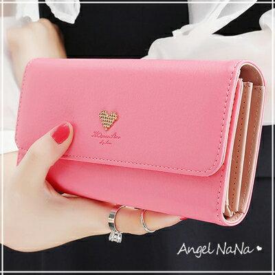 都有  長夾~ 簡約 小愛心 甜美可愛 女皮夾 手機包~M155~AngelNaNa