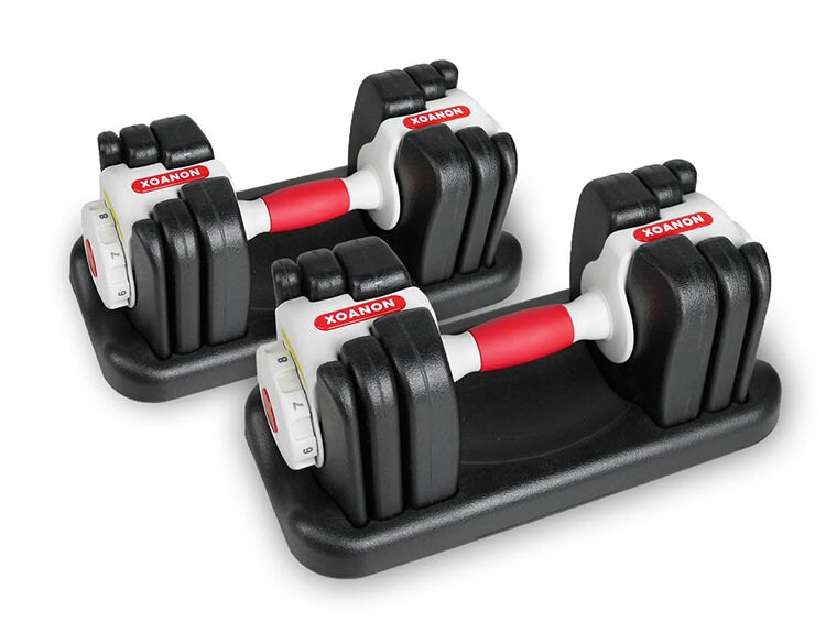 XOANON 洛恩耐運動健身 啞鈴組 極速調重啞鈴 AD-8G 可調式啞鈴 8段式可調量1kg~8kg 入門首選 調整啞鈴 dumbell