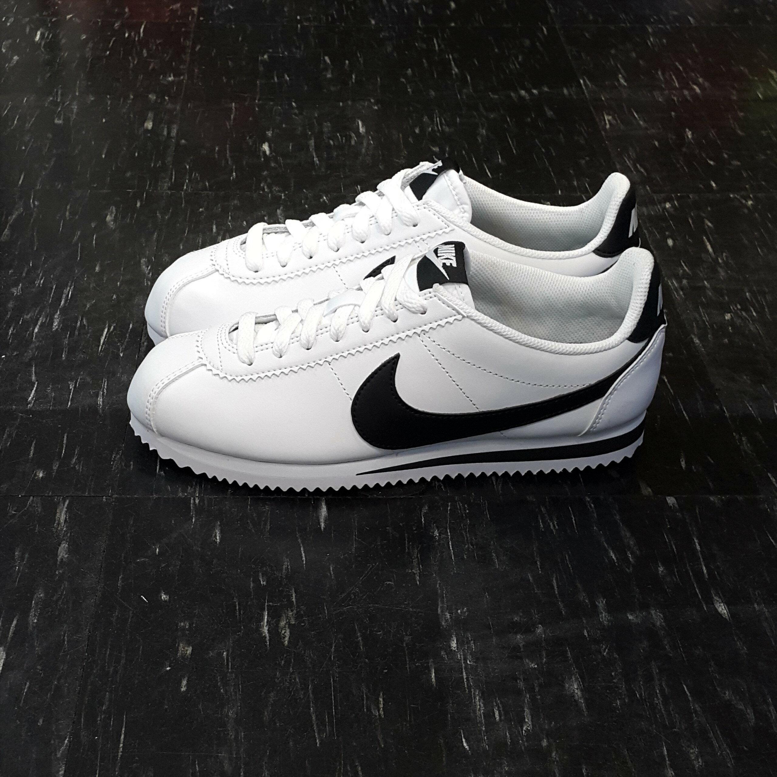 NIKE WMNS CLASSIC CORTEZ LEATHER 阿甘鞋 白色 黑色 黑勾 白黑 皮革 經典 807471-101