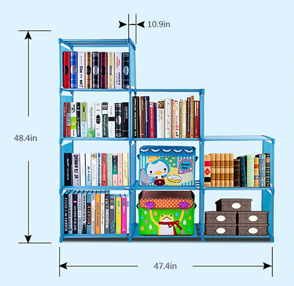 Adjustable Bookcase Storage Bookshelf with 9 Book Shelves 4