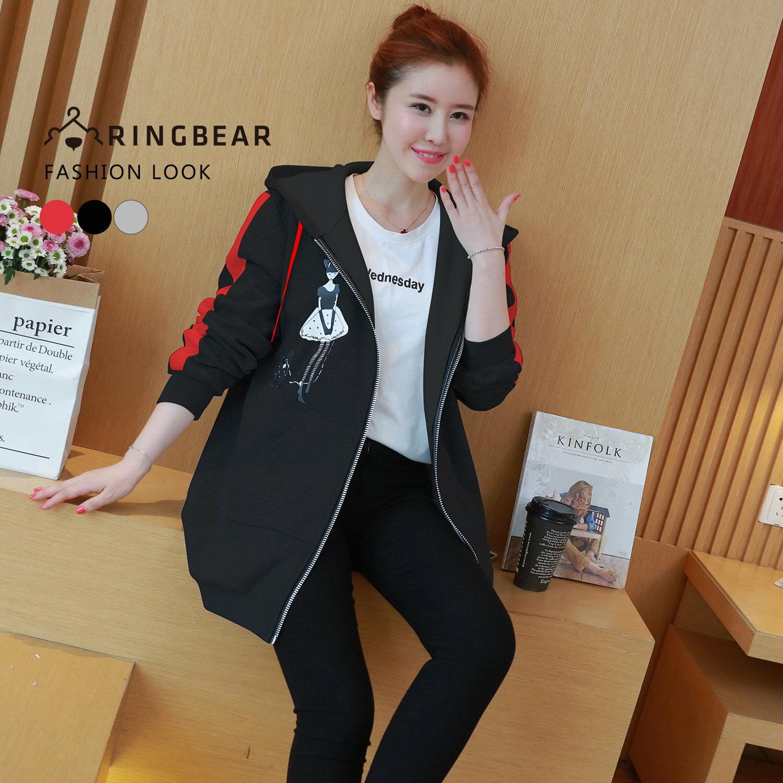 保暖外套--個性線條剪接袖優雅女孩印圖抽繩連帽外套(黑.灰.紅L-3L)-J321眼圈熊中大尺碼 1