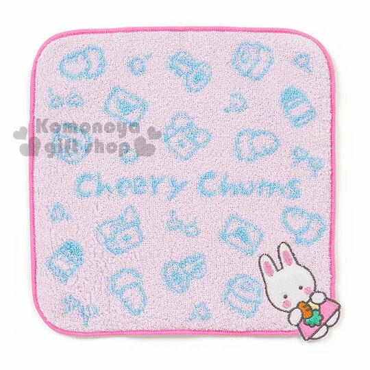 〔小禮堂〕Cheery Chums凱莉兔 圓角小方巾《粉.拿胡蘿蔔.站姿.20x20cm》
