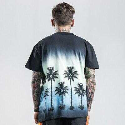 ★短袖T恤休閒上衣-圓領漸層熱帶棕櫚樹男裝2色73qx49【獨家進口】【米蘭精品】 2