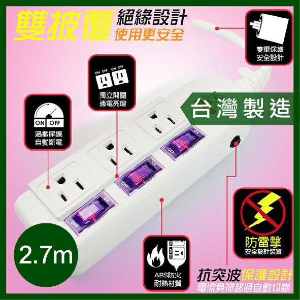 【台灣製造】 MAGIC 三開三插 防雷擊 延長線 15A 2.7公尺 2.7m 電腦延長線 自動斷電 安全 品質保證