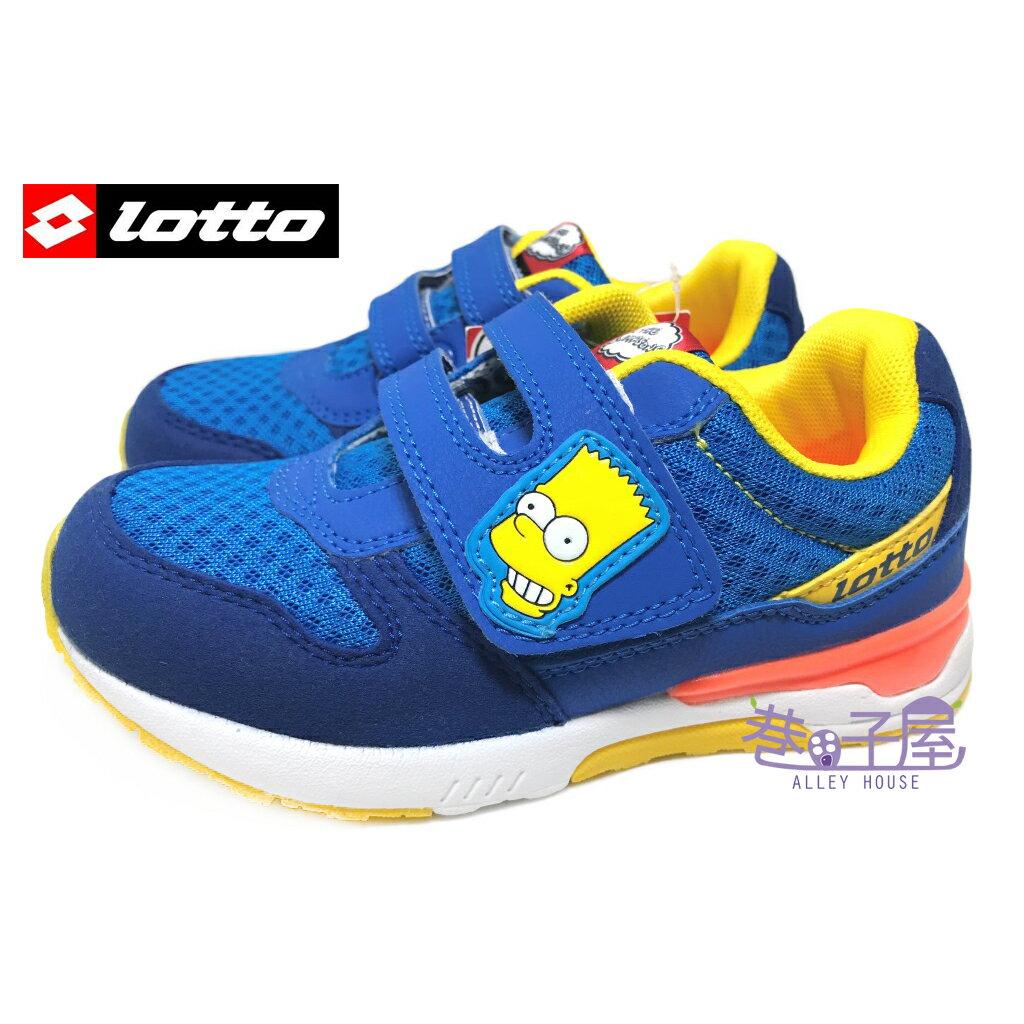 【巷子屋】義大利第一品牌-LOTTO 童款辛普森聯名復古運動慢跑鞋 [2836] 藍 超值價$498