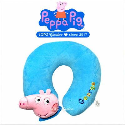 SaraGarden:正版佩佩豬喬治立體飛機枕枕頭靠枕午睡枕護頸枕U型枕柔軟絨毛