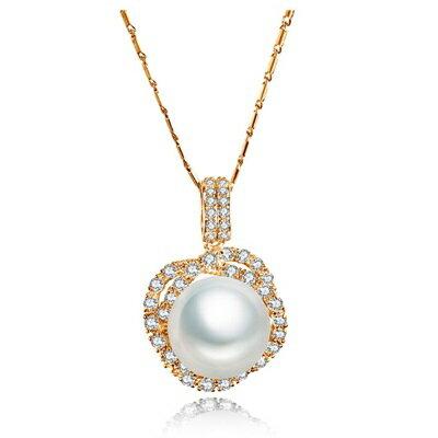 925純銀項鍊 鍍白金鑲鑽吊墜~精緻閃耀珍珠 母親節生日 女飾品2色73ct106~ ~~