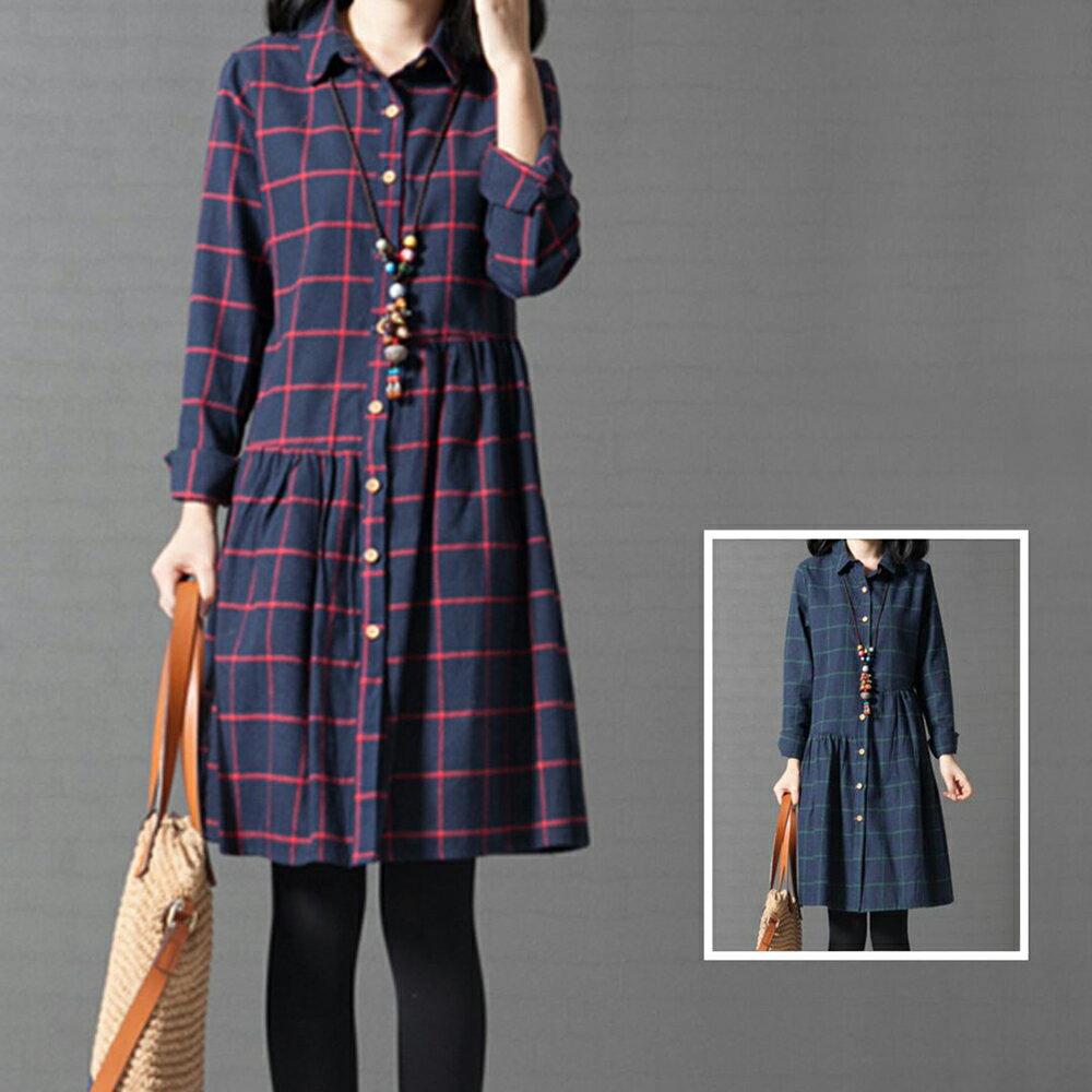 寬鬆格子純棉襯衫裙洋裝 (2色,M~2XL)【OREAD】 1