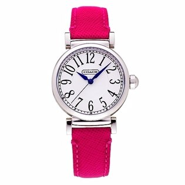 COACH時尚經典腕錶-桃紅壓紋皮革32mm