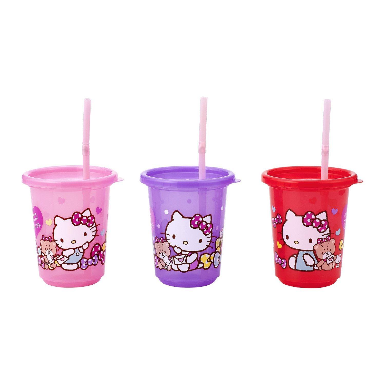 X射線【C175006】Kitty塑膠吸管杯(3入),水瓶/隨身瓶/直飲水壺/學習杯/漱口杯/果汁杯/日本製