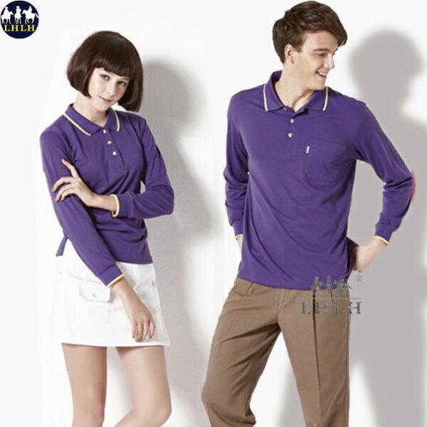排汗衣 女 吸濕排汗polo衫長袖 紫色