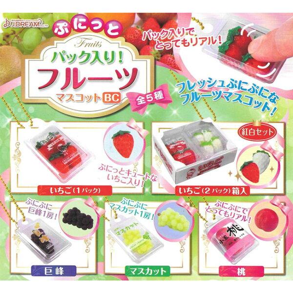 全套5款【日本正版】捏捏水果盒造型吊飾扭蛋轉蛋吊飾J.DREAM-852653