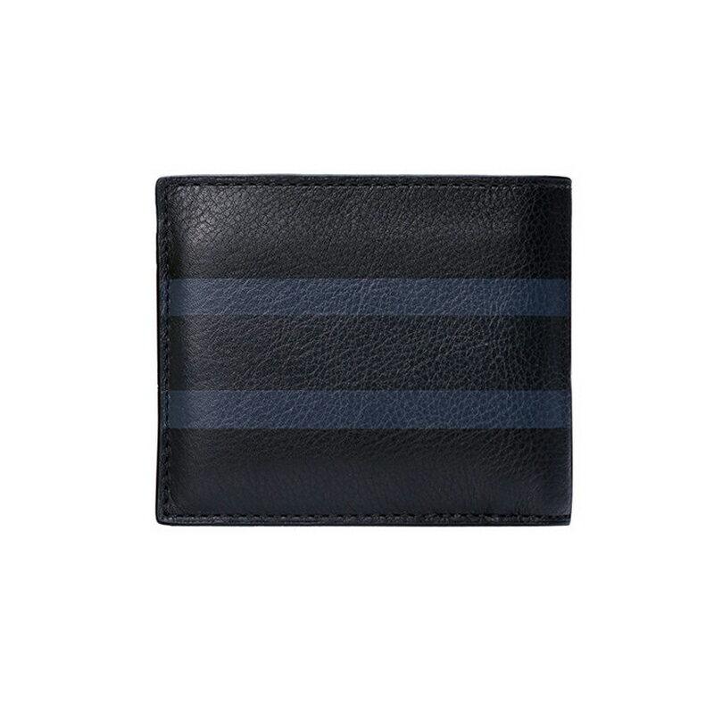 COACH 75086 新品男士時尚皮質對比色條紋短款錢包錢夾