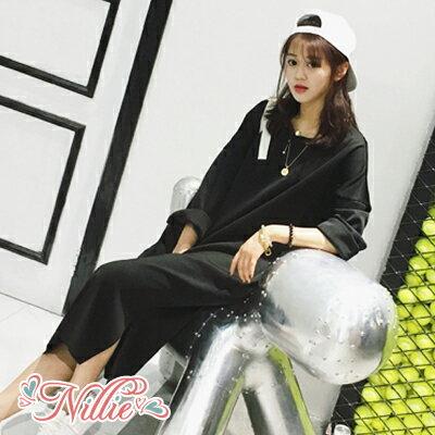 Nillie‧側邊開衩圓領寬鬆連身裙01/17(黑/灰)【N89177】