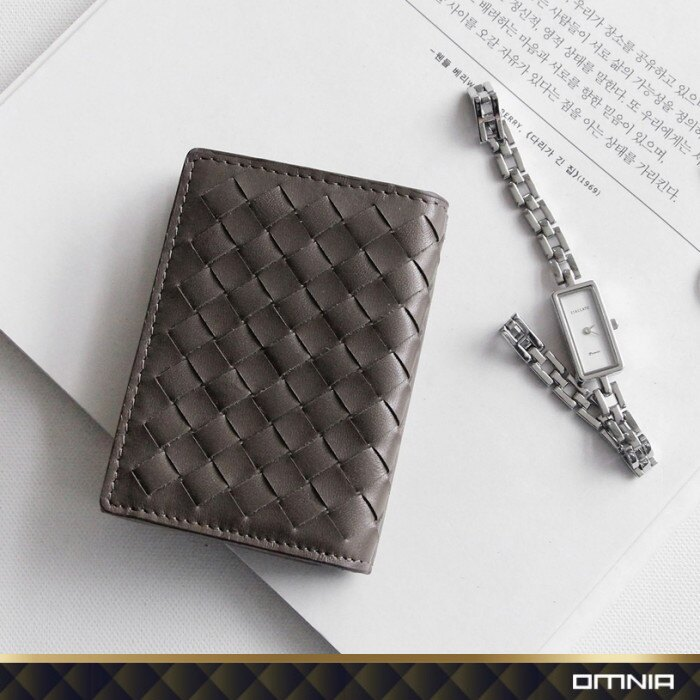 韓國 OMNIA 維芬編織紋真皮女用短夾 皮夾皮包錢包 NO.3286C【韓國直送】 1