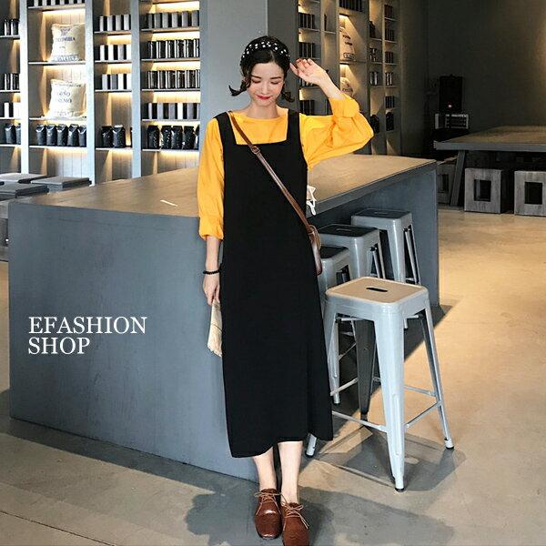背心裙-後拉鍊西裝布長背心裙-eFashion預【J16511041】