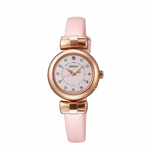 Seiko Vivace 1B21-0AK0P(SWFH046J)歡慶耶誕太陽能電波腕錶/粉紅面25mm