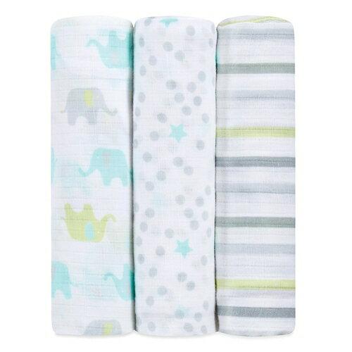 美國idealbaby輕柔新生兒包巾(3入)-條紋小象IB112【悅兒園婦幼生活館】