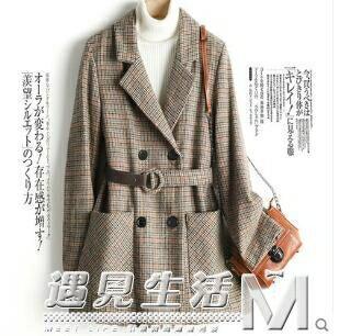 格子毛呢小西裝外套女2020春秋新款韓版修身休閒千鳥格毛呢西服