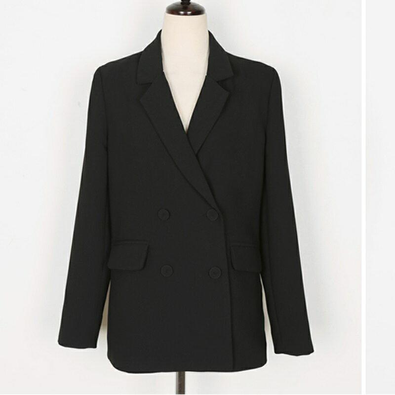 西裝套裝西裝外套+長褲(兩件套)-黑色時尚休閒修身女西服73xs37【獨家進口】【米蘭精品】