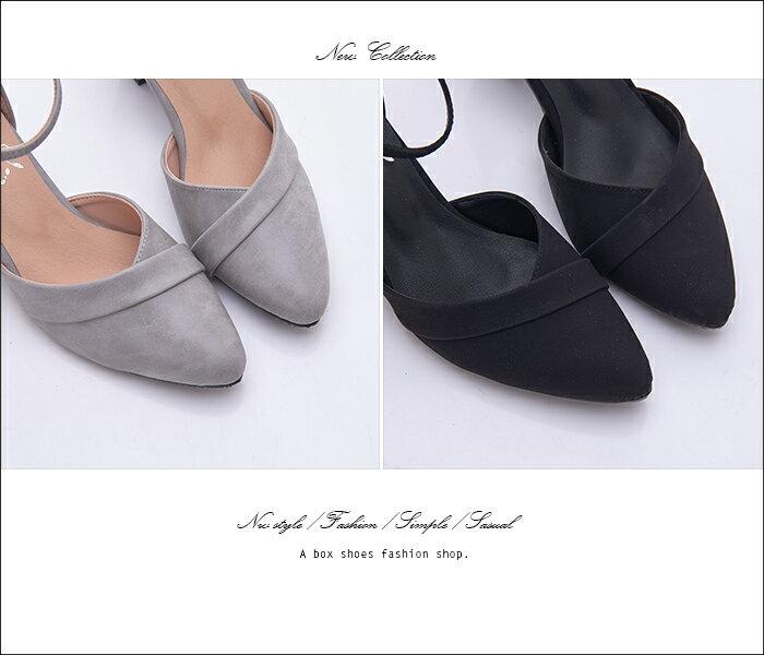格子舖*【KD899】MIT台灣製 金屬扣帶繞踝皮革/麂皮 6CM粗中跟 尖頭包鞋 瑪莉珍鞋 2色 2