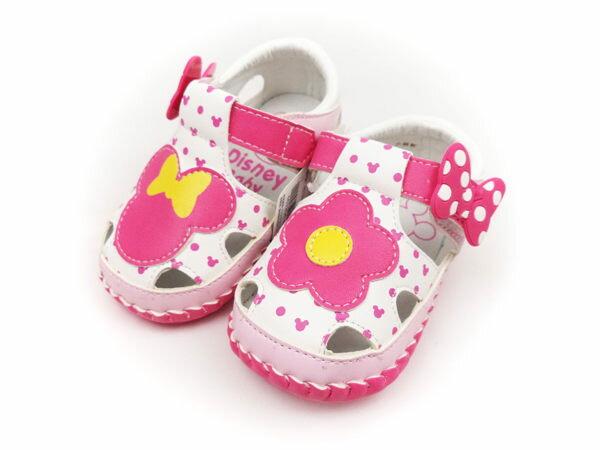 EMMA商城~Disney迪士尼米妮花漾不對稱 軟底寶寶鞋.涼鞋粉色~13~15.5公分