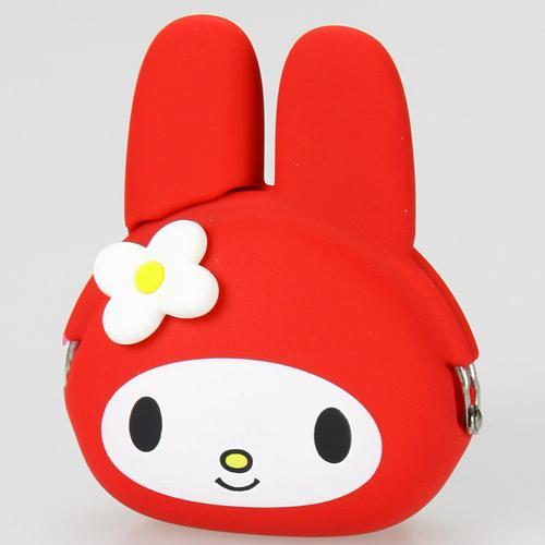 日本代購預購三麗鷗美樂蒂紅色立體造型零錢包POCHI矽膠珠扣零錢包757-515