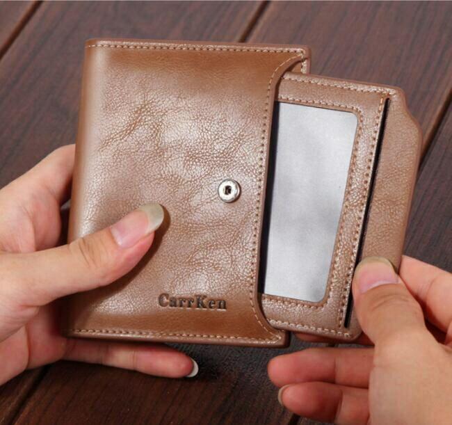 男士錢包短款 wallet 扣子大容量拉鏈錢夾 油臘皮軟皮零錢包 男士短夾 休閑豎款時尚男款皮夾
