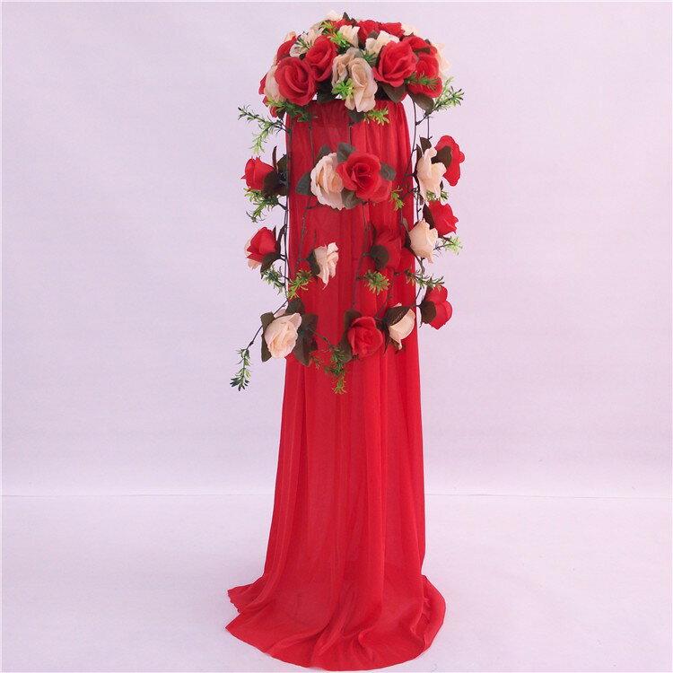 中式婚禮布置結婚花柱花拱門羅馬柱t臺裝飾道具路引婚慶新款2018 4
