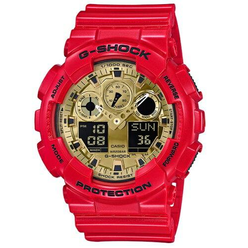 方采鐘錶:CASIOG-SHOCK&BABY-G2018新春限定紅色對錶系列GA-100VLA-4A