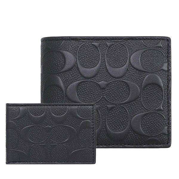 (Smile) COACH F75371 男士男包短款端架漆皮時尚對折錢包錢夾