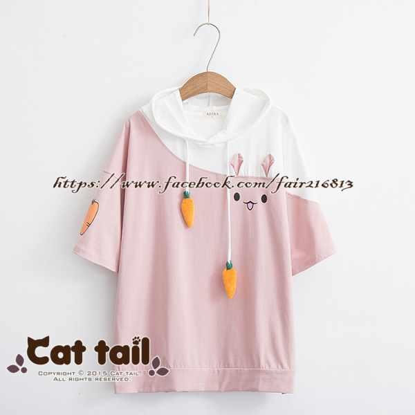 《貓尾巴》TS-0804日系兔子拼接短袖T恤(森林系日系棉麻文青清新)