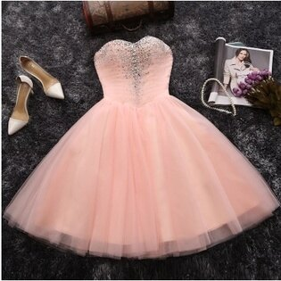 天使嫁衣【MS0303】粉色美胸網紗美鑽華麗短禮服˙預購客製款