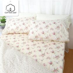 床包組 雙人加大-精梳棉床包組/春漾庭園/美國棉授權品牌[鴻宇]台灣製-1516米黃
