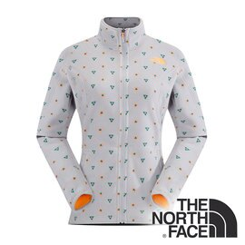 The North Face 女 刷毛保暖外套 灰白印花 CUG8BWA